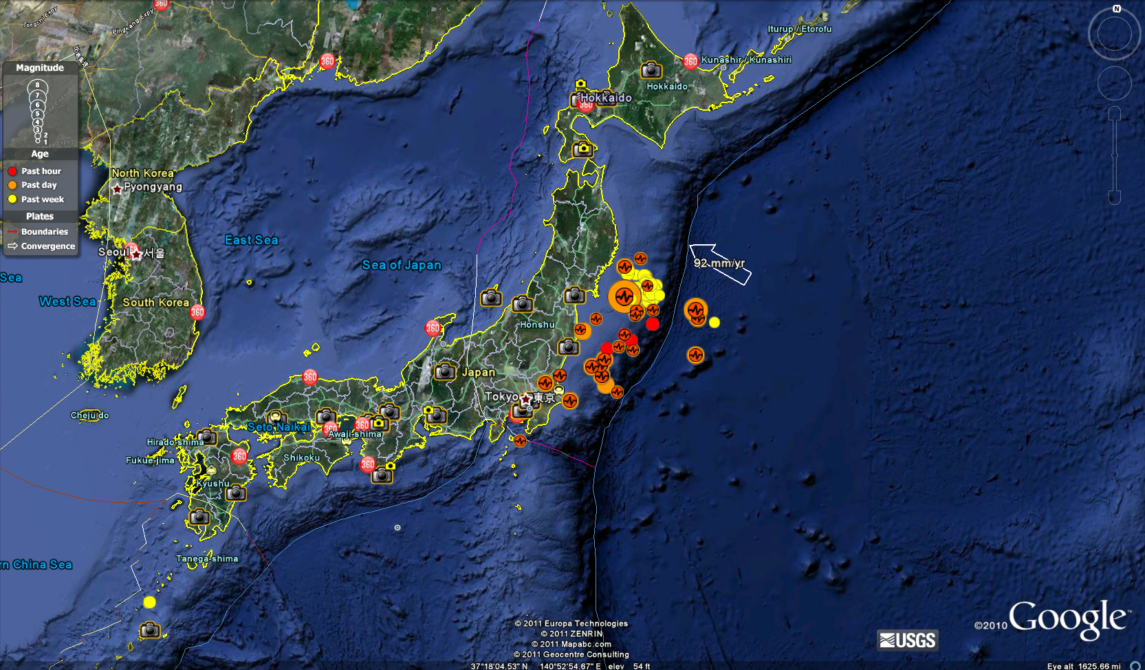 Magnitude 89 japan quake as plotted in google earth chronicles magnitude 89 japan quake as plotted in google earth gumiabroncs Images